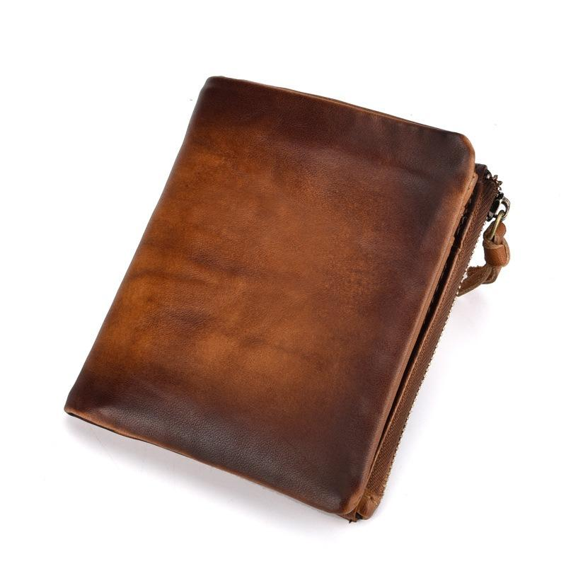 Men Genuine Leather RFID Antimagnetic Vintage Wallet