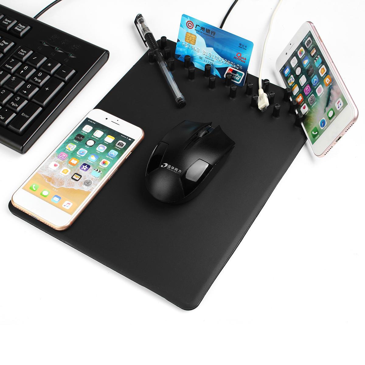 4 in 1 Qi Caricabatteria per ricarica wireless Anti Mouse pad per telefono portaoggetti di archiviazione Skid