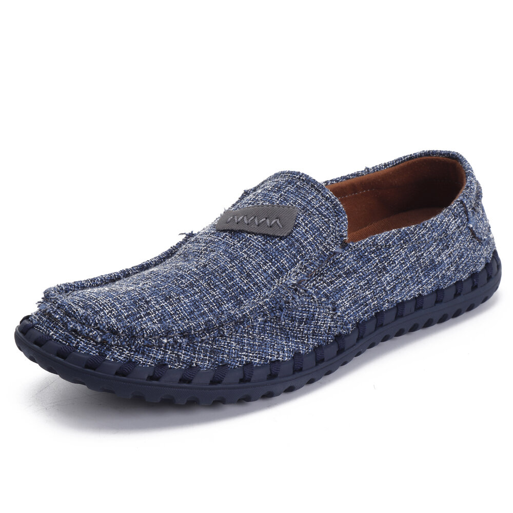 Men Breathable Cloth Soft Flat Loafers Slip On Shoes