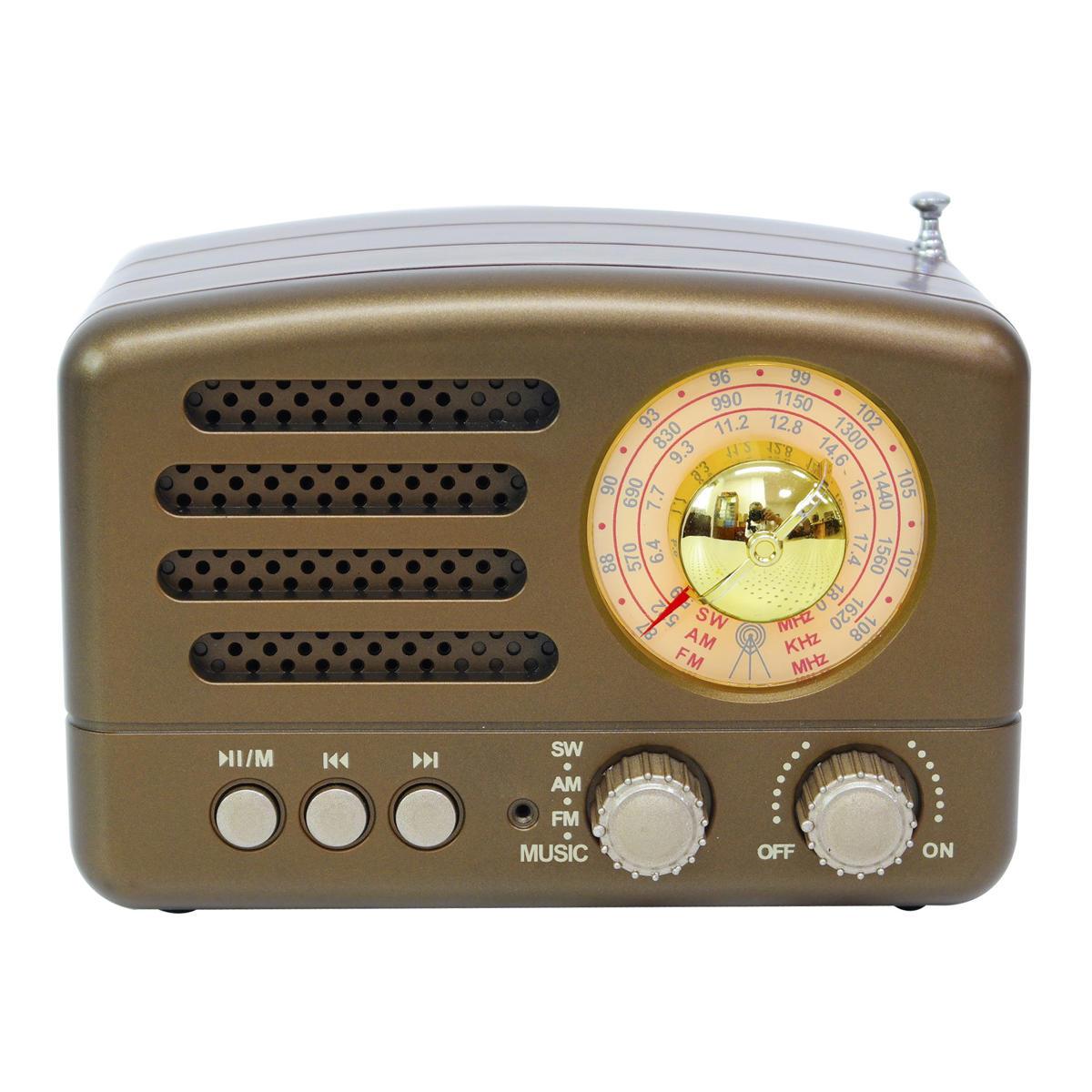Taşınabilir AM FM AUX Vintage Retro Radyo SW Bluetooth Hoparlör TF Kart USB MP3 Müzik Çalar