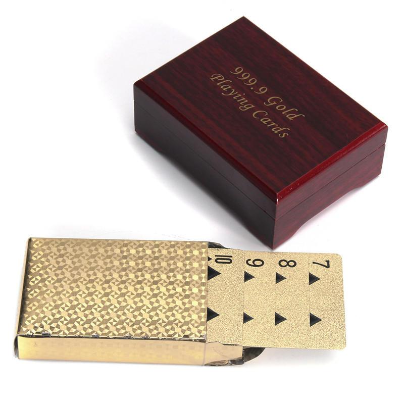 الذهب مطلي بوكر بطاقات اللعب مع صندوق خشبي للحزب كازينو عيد الميلاد