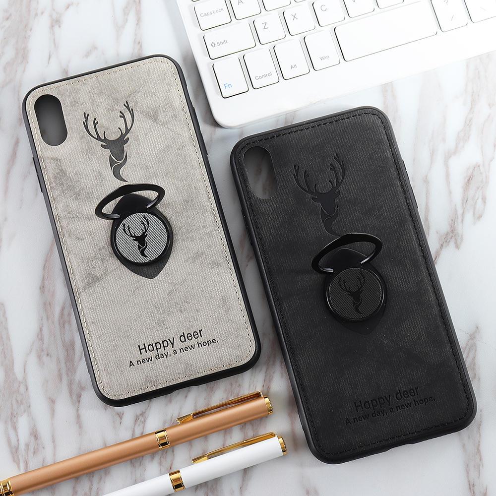 Bakeey Happy Deer Ring Держатель Кронштейн ТПУ + ПУ Кожа Защитная Чехол Для iPhone XS Макс. 6.5 дюймов