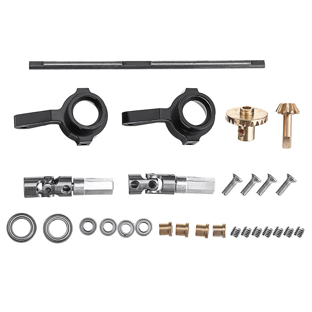 WPL Copper Gear Front Bridge Axle+Drive Shaft+Steering Cup For B14 B24 B36 C14 C24 RC Car