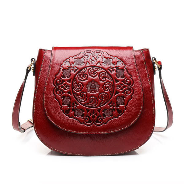 Women Genuine Leather Causal Flower Print Design Cover Shoulder Bag Cowhide Crossbody Bag