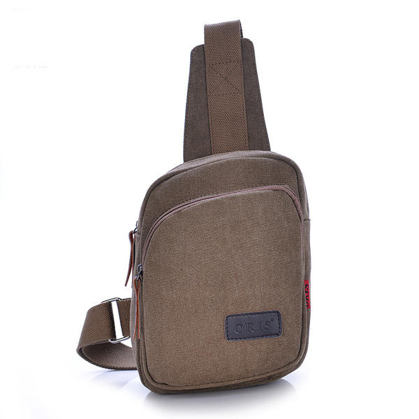 Men Canvas Casual Crossbody Bag Outdoor Cycling Hiking Chest Bag