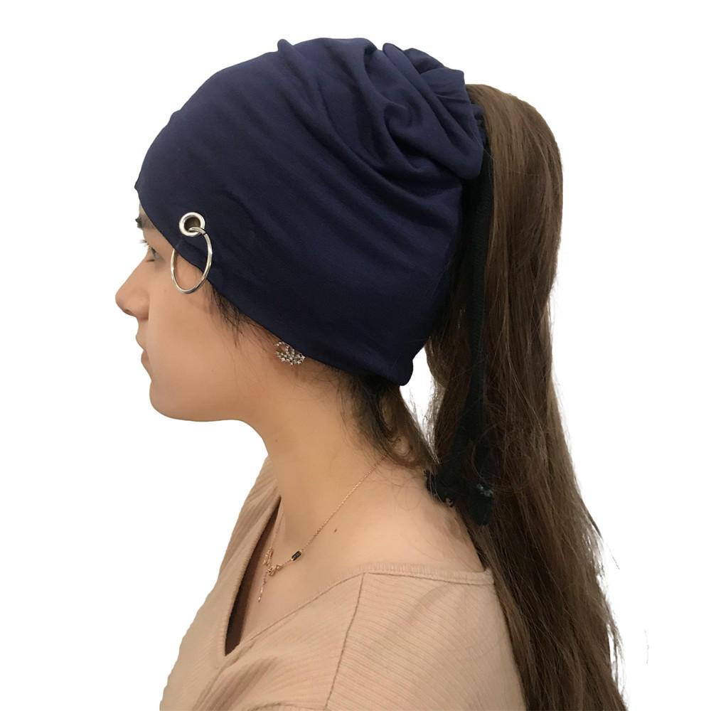 Mulheres Inverno Algodão Multifuncional Ajustável Beanie Chapéu Cachecol Ao Ar Livre Chemo Caps