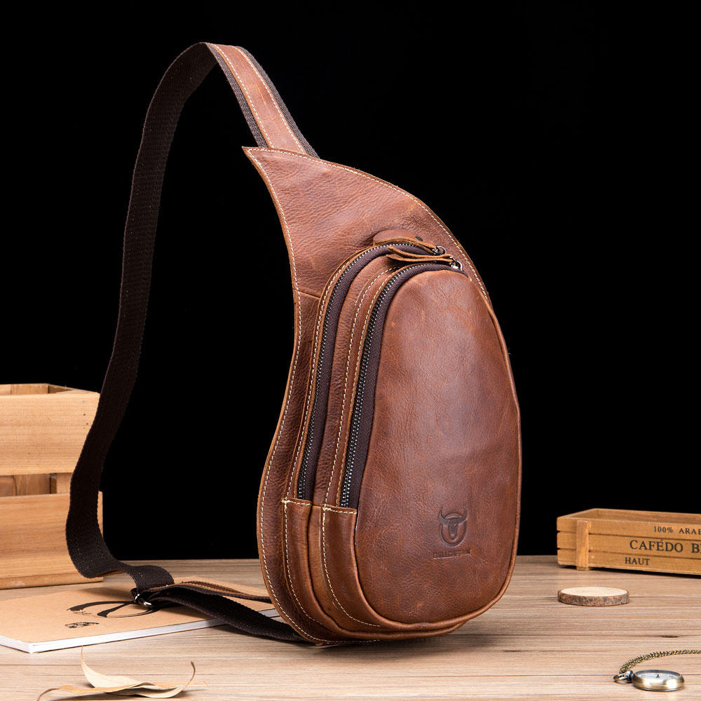 Bullcaptain Genuine Leather Drop-Shaped Crossbody Bag Shoulder Bag