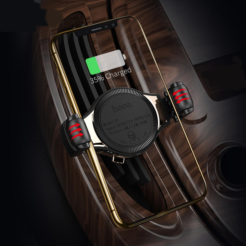 HOCO QI 10W Scrolling Design Car Wireless Fast Charger Air Vent Phone Holder Bracket for iPhone XS