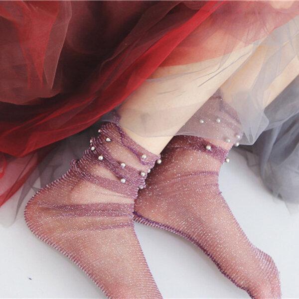 Damen Mädchen schwarz Harajuku Fisch Net Socken aushöhlen atmungsaktiv Sexy Perle Mesh Söckchen