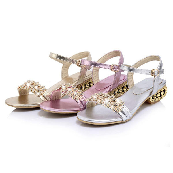 Large Size Bohemian Rhinestones Open Toe Low Heel Sandals shoes