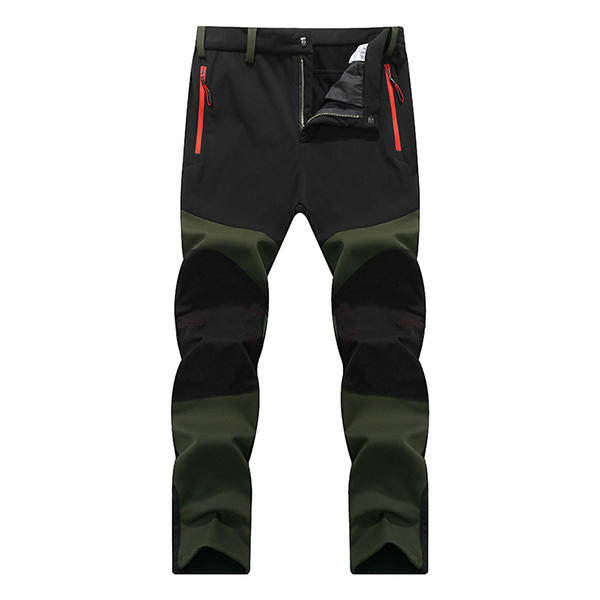 Autumn Winter Outdoor Plus Cashmere Warm Windproof Waterproof Pants Men's Soft Shell Hiking Trousers