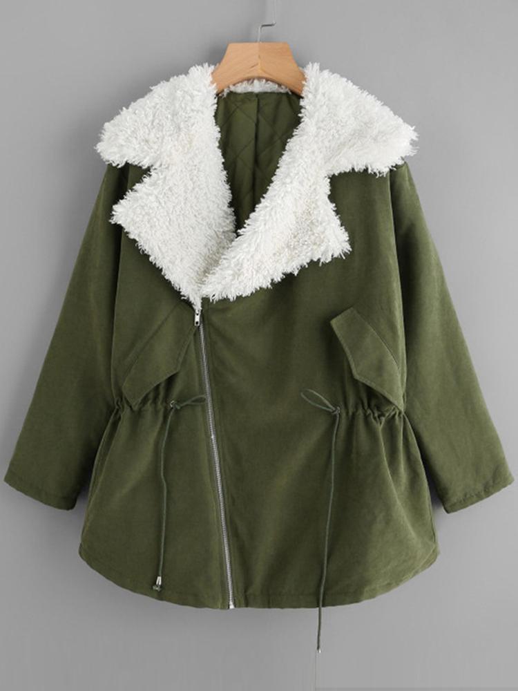 Cappotto invernale invernale a maniche lunghe con zip a maniche lunghe per donna