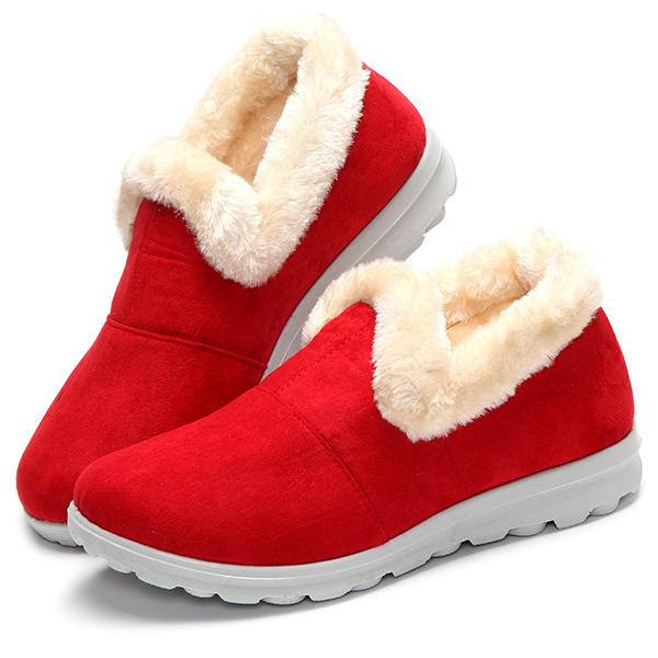 Snow Boots Women Winter Fur Lining Keep Warm Cotton Outdoor Flat Shoes
