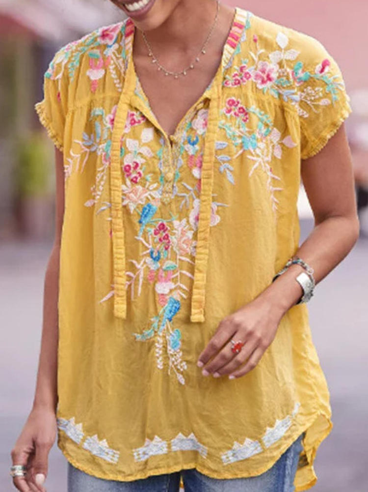 Casual Women Floral Print V-Neck Short Sleeve Blouse