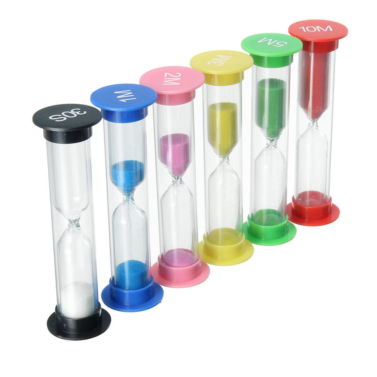 6Pcs 30S/1/2/3/5/10mins Mini Hourglass Sandglass Sand Clock Game Kitchen Home Timer