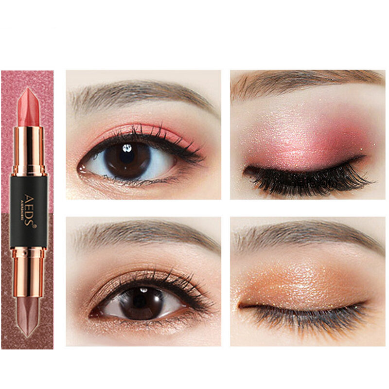 6 Colors Double Head Eye Shadow Stick Highlight Glitter Shimmer Waterproof Long-time Lasting