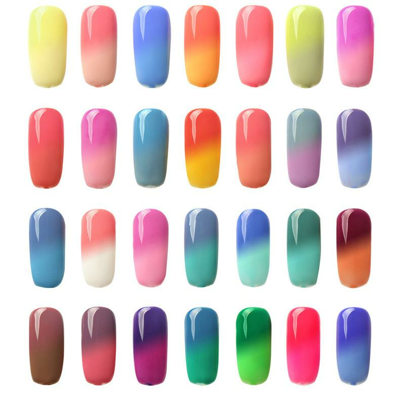 FOCALLURE Temperature Color Change UV Gel Polish Nail Art Varnish Manicure 7ml 30 Bright Colors