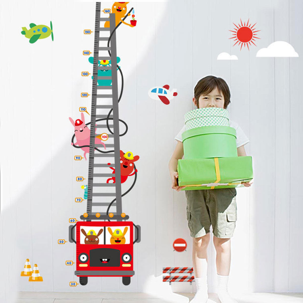 1Pcs Cute Truck Height Measure Wall Sticker Mural Decals Home Room Decoration Child Growth Chart Toys