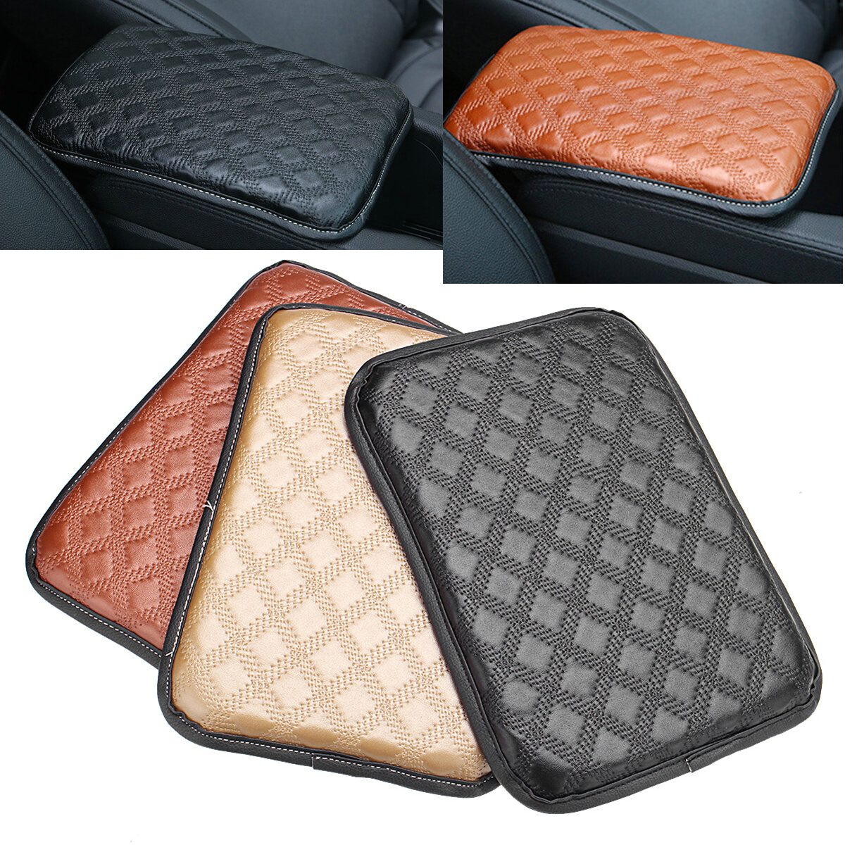 Beige Leather Universal For Car Armrest Pad Cover Auto Center Console Cushion