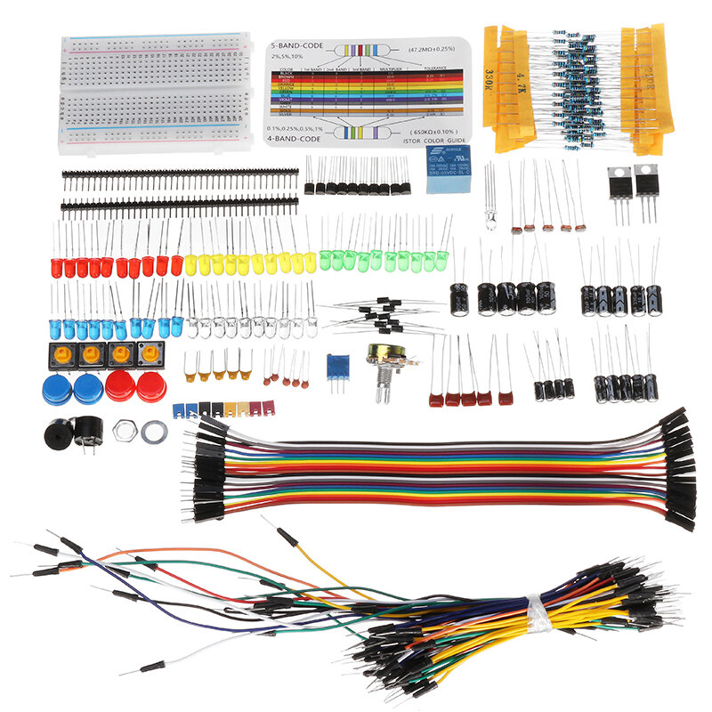 Geekcreit Electronic Components Base Starter Kits with Breadboard Resistor Capacitor LED Jumper Cable With Plastic Box Package For Geekcreit Arduino - products that work with official Arduino boards