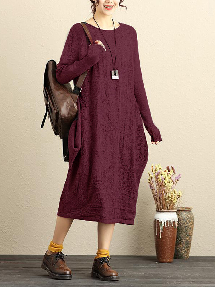Celmia Casual Solid Long Sleeve O-neck Pure Color Women Dresses