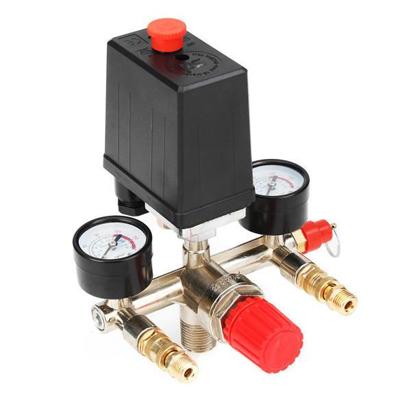 90-120PSIエアコンプレッサ圧力スイッチコントロールバルブマニホールドレギュレータゲージ