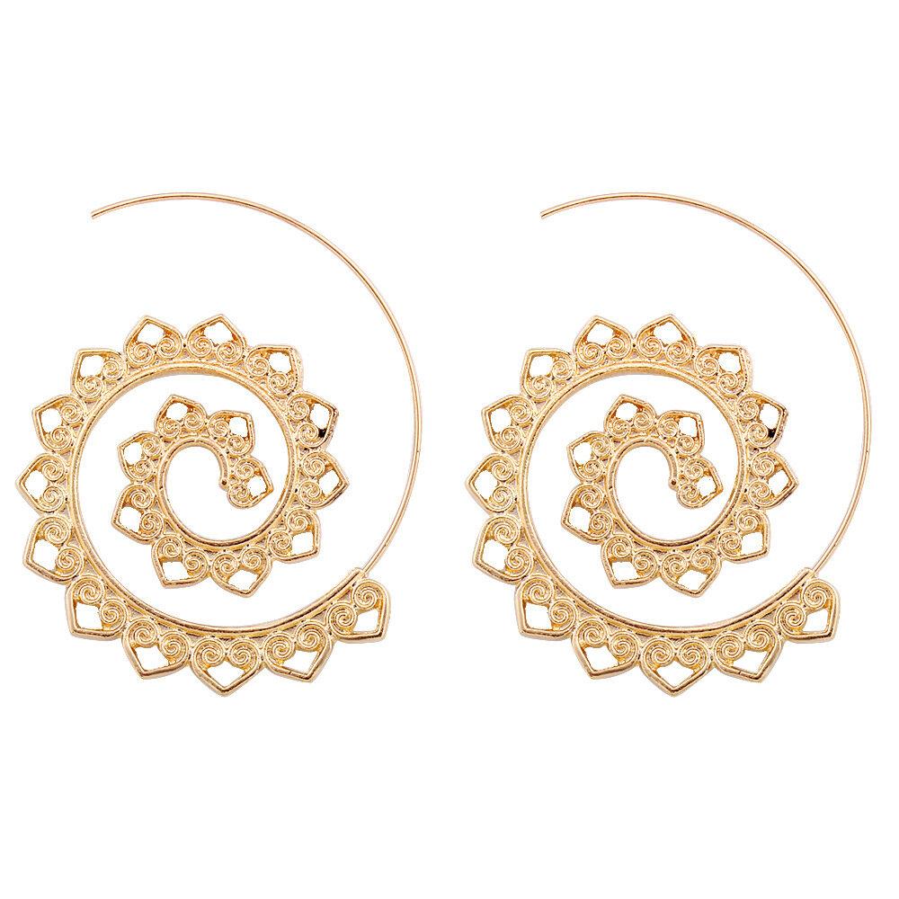 Trendy Big Circle Hoop Abartılı Spiral Kalp Bırak Şekli Küpeler Kadın için hediye