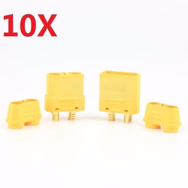 10 par Amass XT90 + plug Conector masculino e feminino com bainha