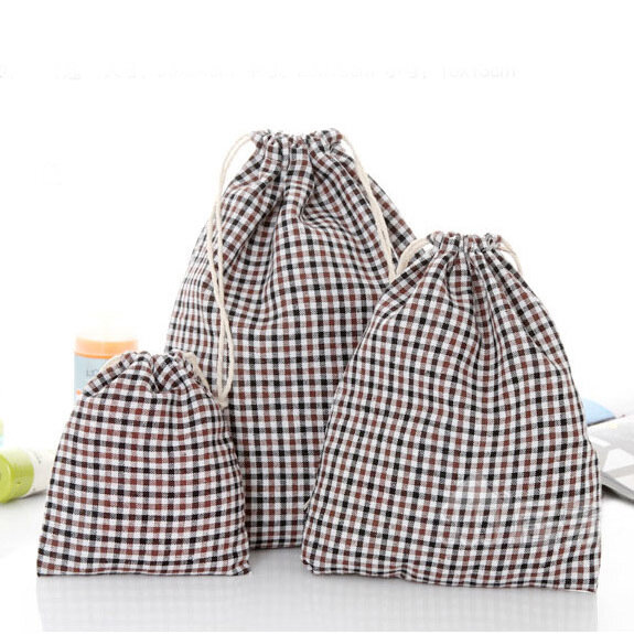 Drawstring Cotton Linen Grid Stripe Gift Bags Pouches Jewelry Bags Wedding Decoration Storage Bags