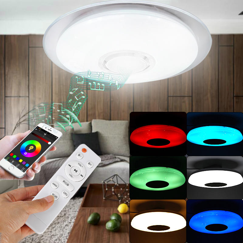48W 108LED Dimmable RGB Ceiling Light Flush Mount bluetooth Music Speaker APP Control