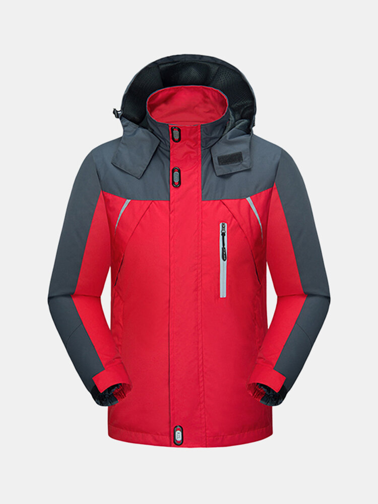 Mens Waterproof Outdoor Hiking Mountaineering Spring Autumn Hooded Jacket Sport Casual Coat