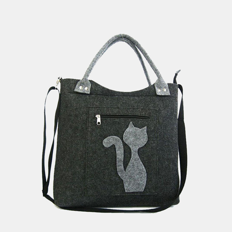 Women Large Capacity Cute Cat Pattern Handbag Crossbody Bag Shoulder Bag