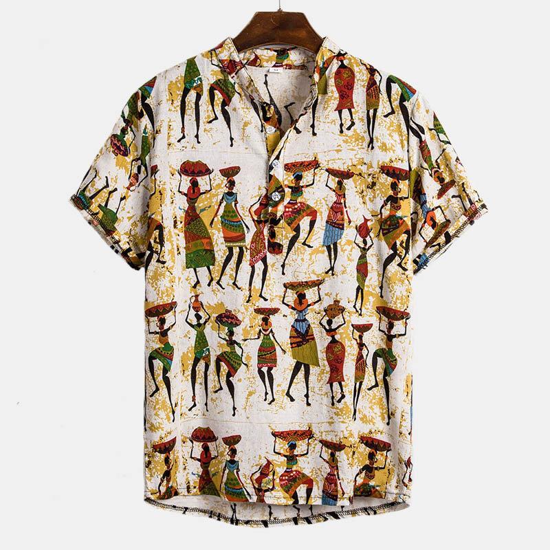 Camicie da uomo Henley in cotone stampato a maniche corte in caratteri etnici