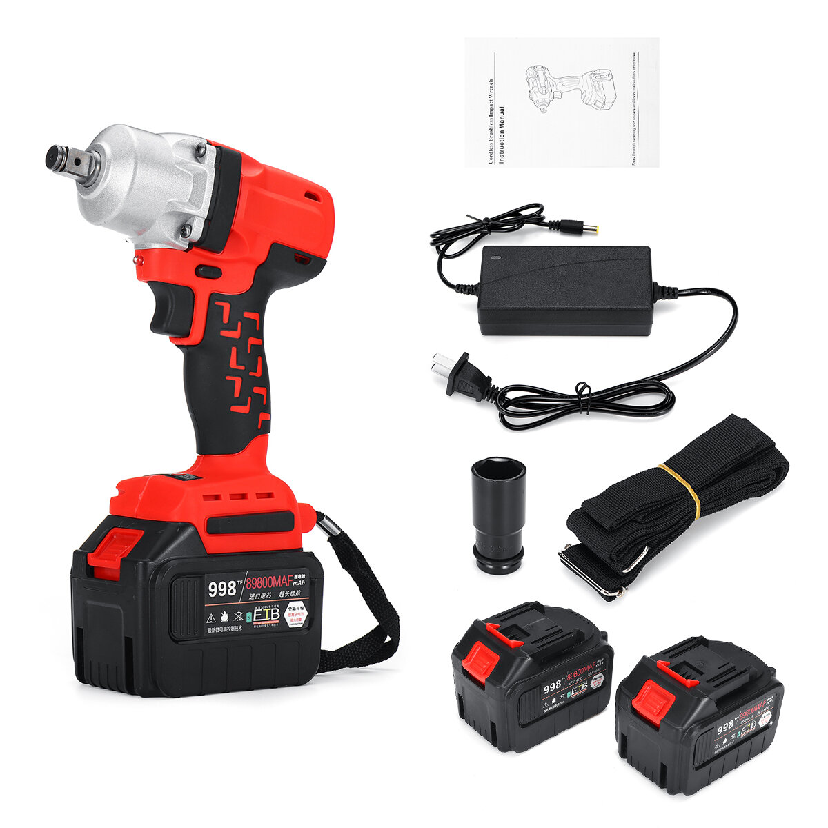 600Nm 89800mAh 1/2'' Brushless Electric Impact Wrench Power Driver Cordless Torque Tool