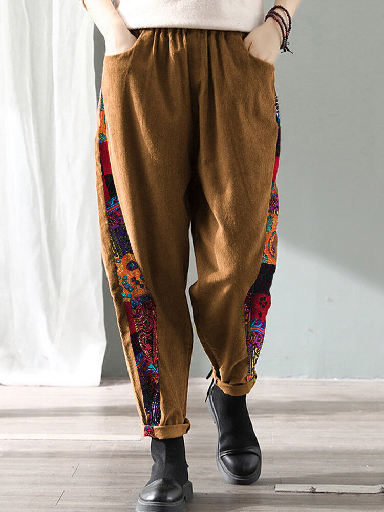Ethnic Style Print Splice Corduroy Trousers Elastic Waist Casual Pants with Pockets