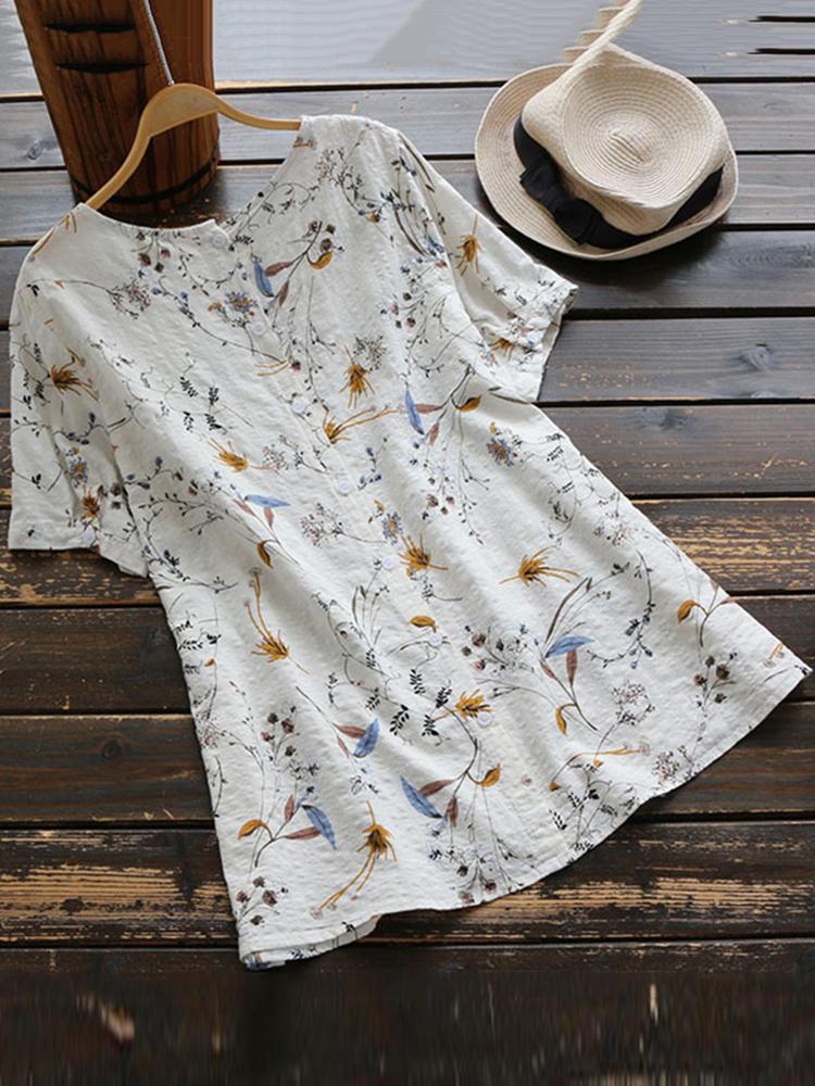 Kadın Çiçek Desenli Yuvarlak Tişört Boyun Kısa Kollu Tişörtler