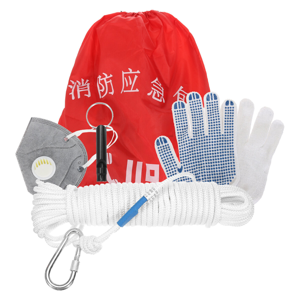 Fire Emergency Survival Kits Safety Rope Whistle Home Spare Fire Escape Package Outdoor Rescue Tools Kit
