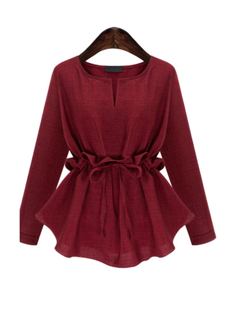 Linen Solid Color Long Sleeve Drawstring Waist Shirts