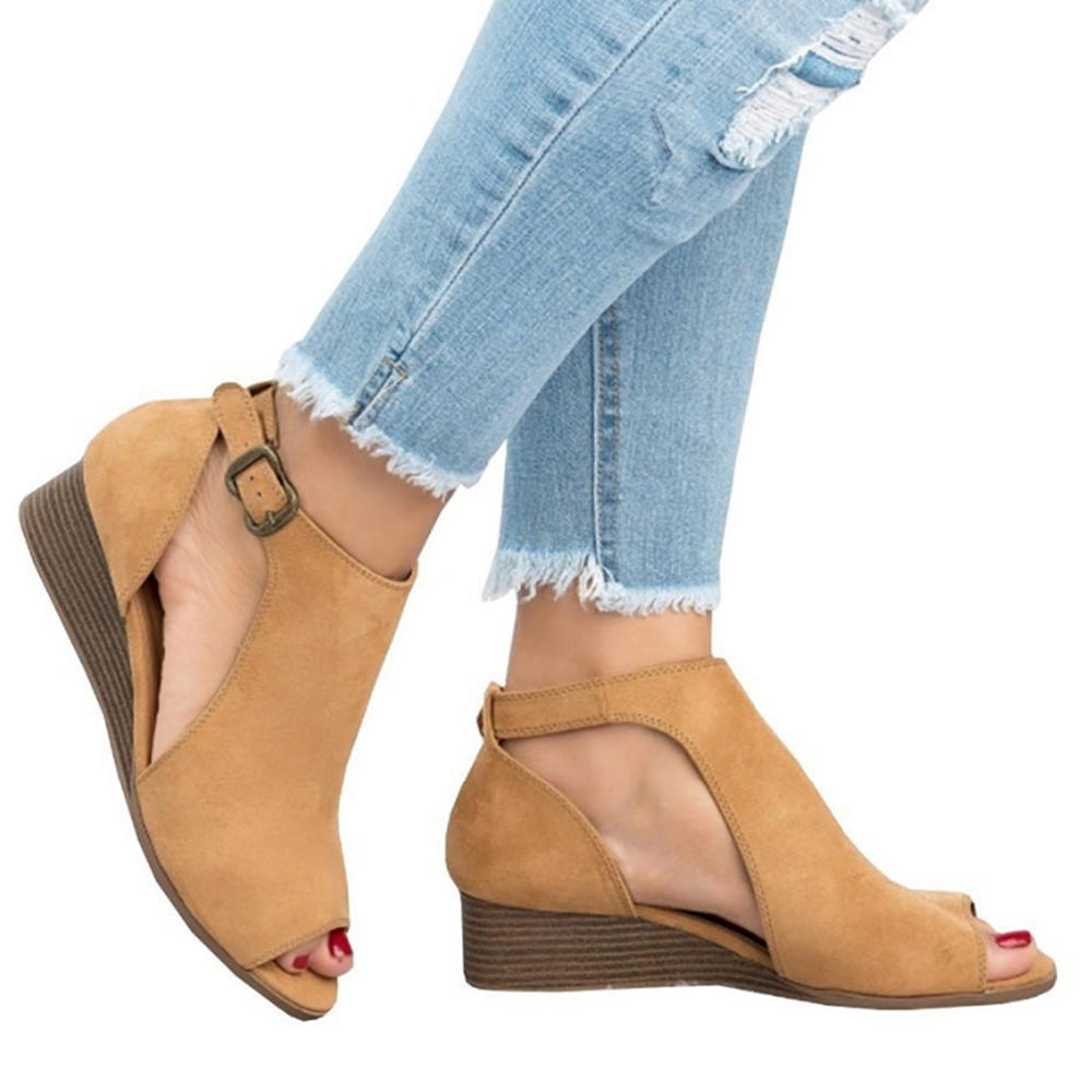 Large Size Women Side Open Peep Toe Wedges Casual Buckle Sandals