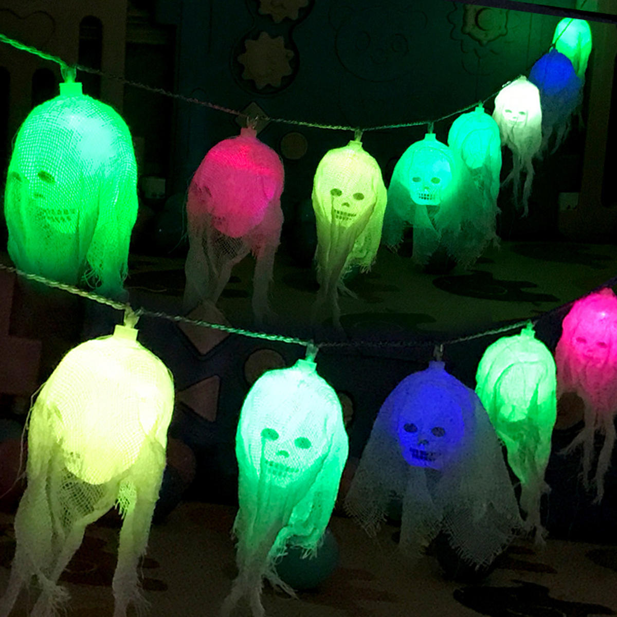 2,5 Mt Batterie Powered 10 LED Schädel String Licht Dekoration Lampe für Halloween Ghost Party Decor