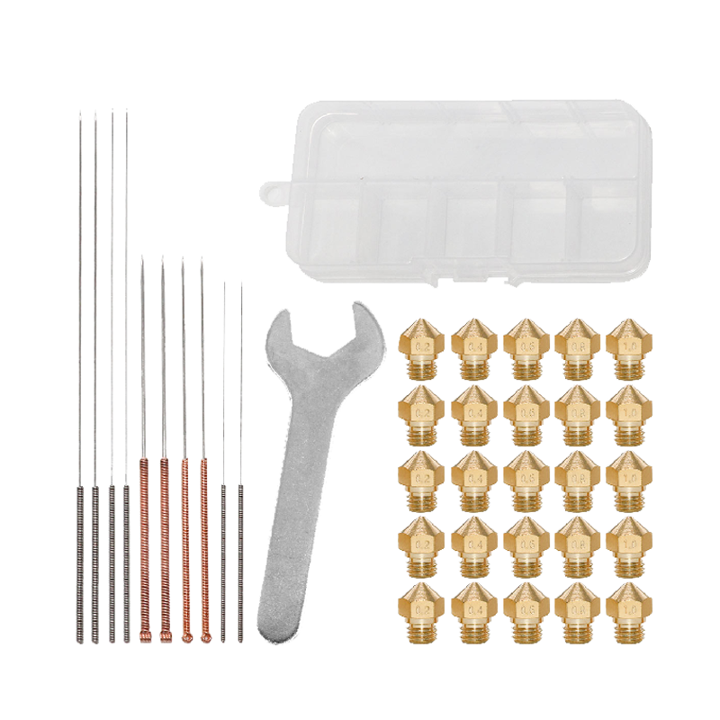 One Box MK10 Brass Nozzle and Maintenance Kit 25Pcs 0.2-1.0mm Nozzle with 25Pcs Cleaning Needle + Opening Stamping Wrench for 3D Printer