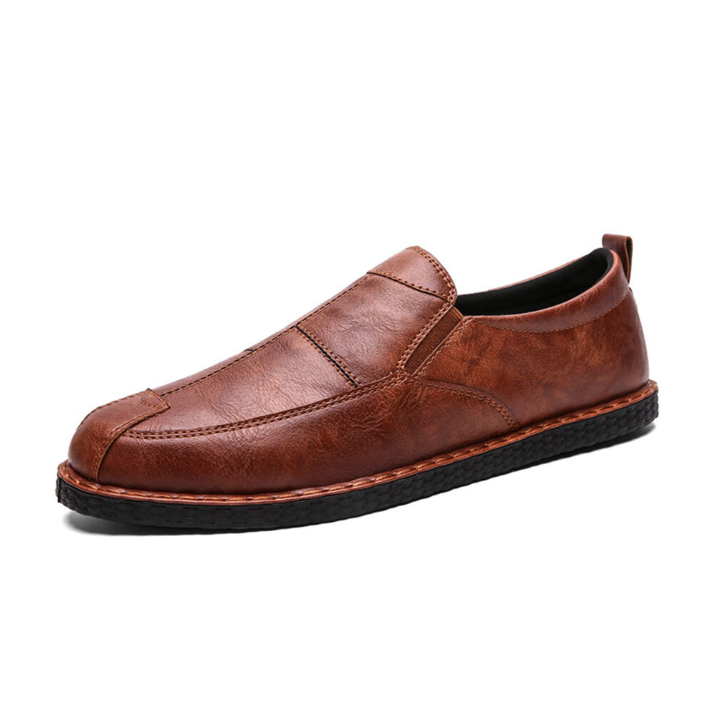 Men Microfiber Spicing Leather Casual Slip On Business Oxfords
