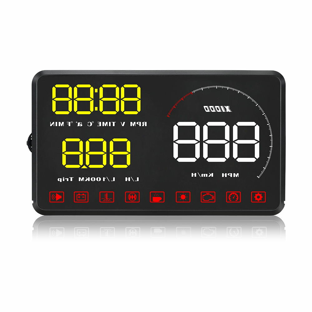A9 5.5 Inch Car HUD OBD OBD2 Head Up Display Digital Speedometer Windshield Projector Fatigue Alarm Fuel Speed Gauge
