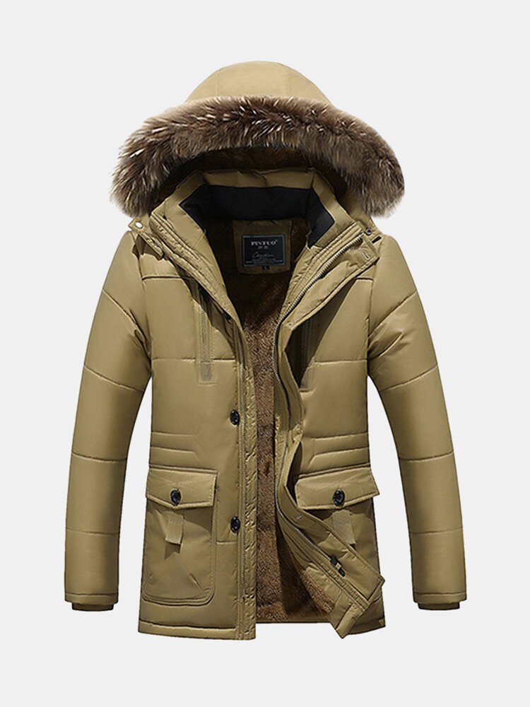 Mannen Katoen Down Brand Kleding Fur Collar Warme Casual Parka Coat Fashion Winter Jacket