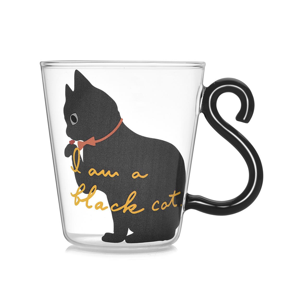 Copo de vidro dos desenhos animados de vidro infantil gato criativo lidar com xícara de café copo de bebida de suco transparente de camada única
