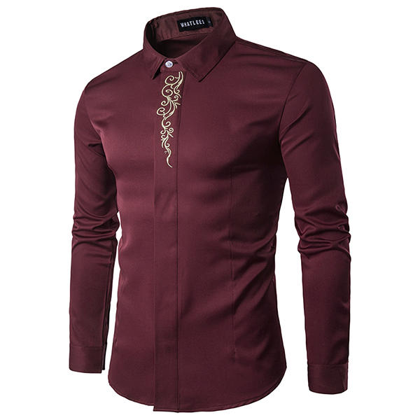 Casual Business British Style Embroidery Hidden Button Band Collar Designer Shirts for Men