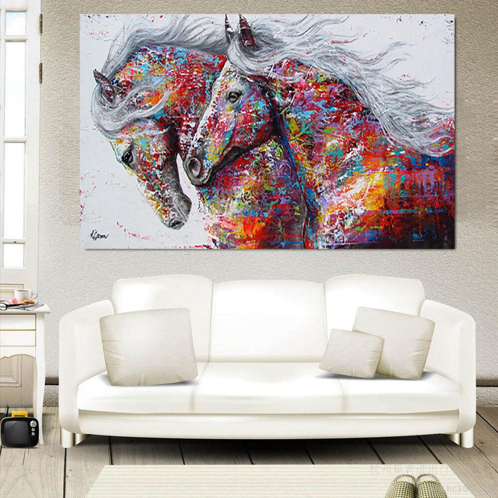 Canvas Running Caballo Pinturas impresas Lámina sin marco Imagen de la pared Colorful Cartel para la decoración del hogar