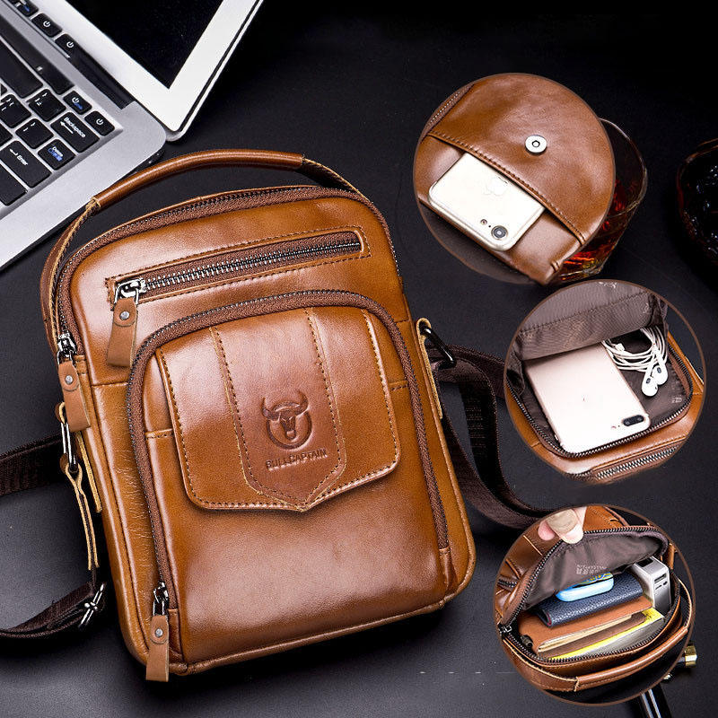 Bullcaptain Men Casual Genuine Leather Shoulder Bag Crossbody Bag For Outdoor