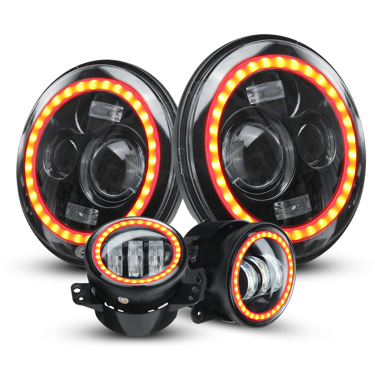 7 Inch Car Halo RGB LED Headlights Angel Eyes Lights bluetooth Support APP Control Waterproof High Low Beam Fog Lamps 4Pcs For Jeep Wrangler JK 2007-2017