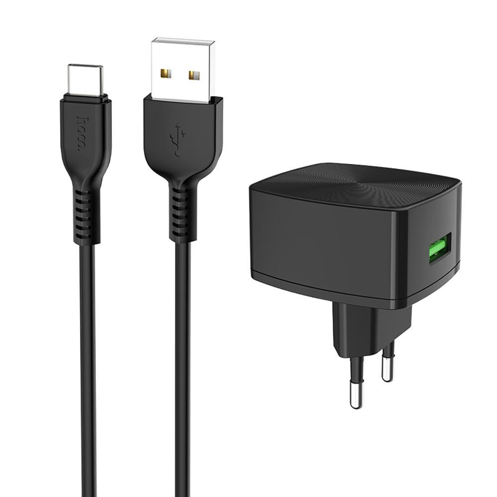 HOCO C70A UE QC3.0 Carregador de energia com cabo Type-C para tablet Smartphone